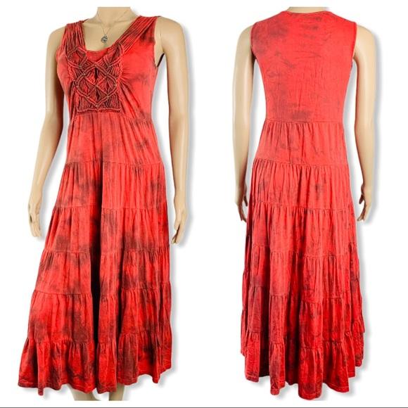 Reba Red Tie Dye Tiered Maxi Dress